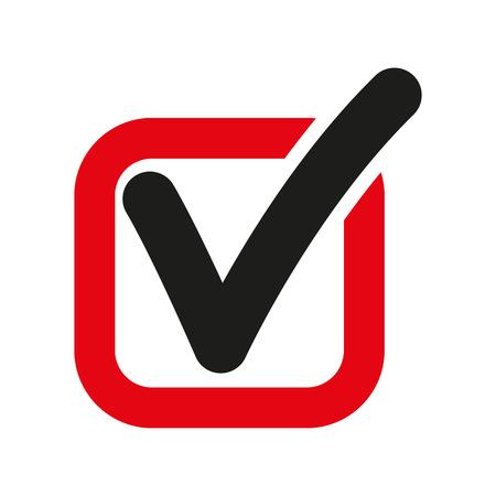 체크 아이콘. 체크 표시와 체크 박스, 예, 투표 기호. 플랫 벡터 일러스트 레이션