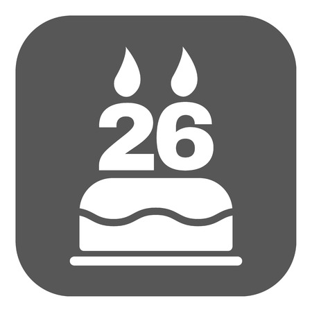 twenty six: The birthday cake with candles in the form of number 26 icon. Birthday symbol. Flat Vector illustration. Button