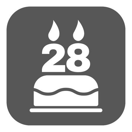 number candles: The birthday cake with candles in the form of number 28 icon. Birthday symbol. Flat Vector illustration. Button