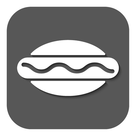hot dog label: The hot dog icon. Sandwich and baking, fast food symbol. Flat Vector illustration. Button