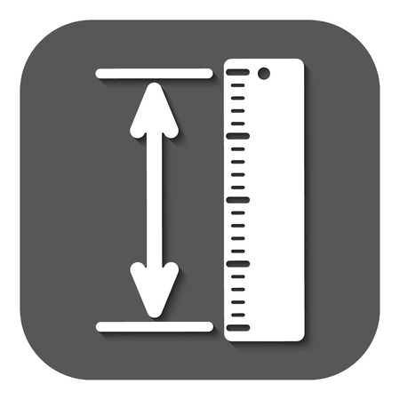 straightedge: The measuring height and length icon. Ruler, straightedge, scale symbol. Flat Vector illustration. Button Illustration