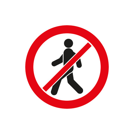 caution sign: The no entry icon. Disallowed and danger, warning symbol. Flat Vector illustration