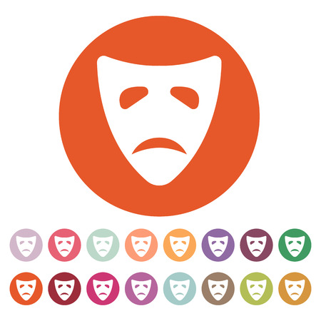 tragedy: The sad mask icon. Tragedy and theater symbol. Flat Vector illustration. Button Set Illustration