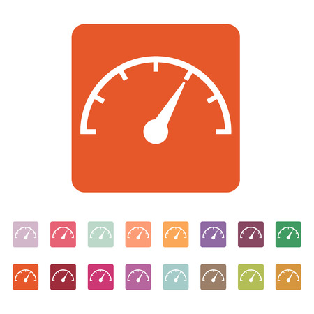 tachometer: The tachometer, speedometer and indicator icon. Performance measurement symbol.  Illustration