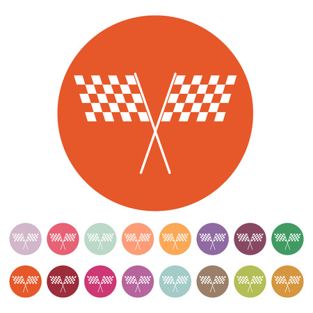 two crossed checkered flags: The checkered flag icon. Finish and start, winner symbol.
