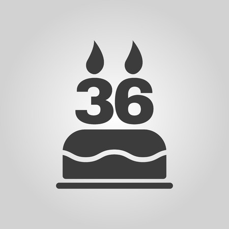 number 36: The birthday cake with candles in the form of number 36 icon. Birthday symbol.