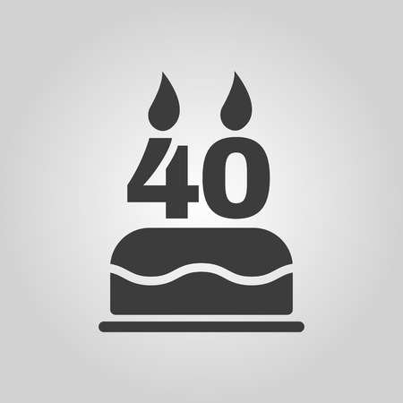 40: The birthday cake with candles in the form of number 40 icon. Birthday symbol.