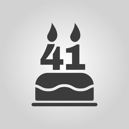 number candles: The birthday cake with candles in the form of number 41 icon. Birthday symbol. Vectores