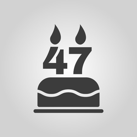 The birthday cake with candles in the form of number 47 icon. Birthday symbol.