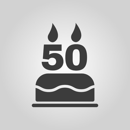 50 number: The birthday cake with candles in the form of number 50 icon. Birthday symbol.