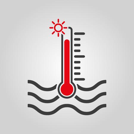 The warm water temperature icon. Hot liquid symbol.