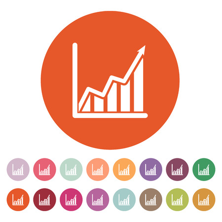 The growing graph icon. Growth and up symbol. Flat Vector illustration. Button Set 向量圖像