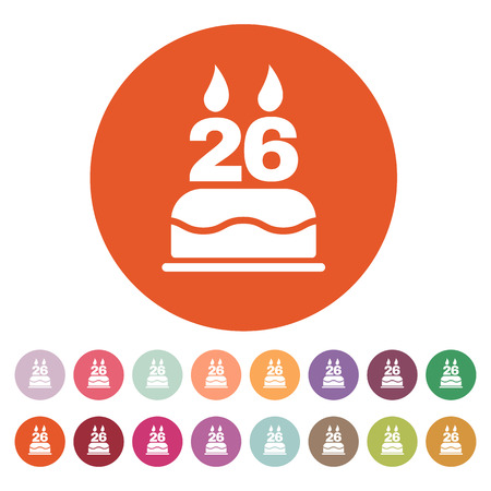 twenty six: The birthday cake with candles in the form of number 26 icon. Birthday symbol. Flat Vector illustration. Button Set