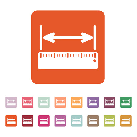 straightedge: The width measurement icon. Ruler and straightedge, scale symbol. Flat Vector illustration. Button Set