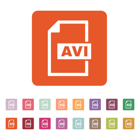 avi: The AVI icon. Video file format symbol. Flat Vector illustration. Button Set