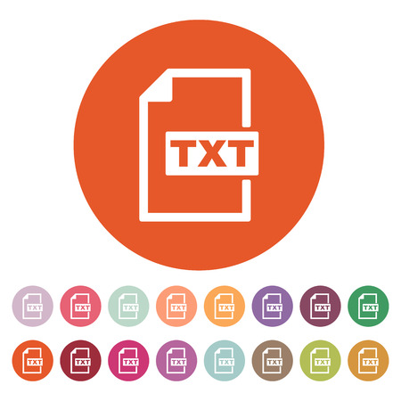 txt: The TXT icon. Text file format symbol. Flat Vector illustration. Button Set