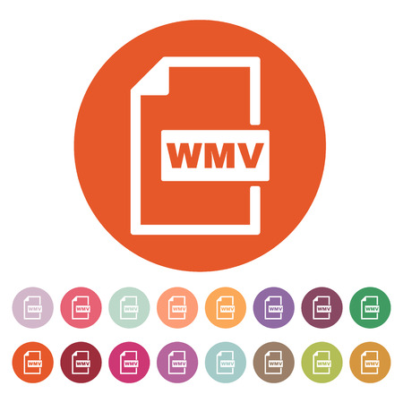wmv: The WMV icon. Video file format symbol. Flat Vector illustration. Button Set