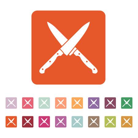 cuchillo de cocina: El icono de cuchillos cruzados. Cuchillo y chef, símbolo de la cocina. Ilustración del vector plana. Conjunto del botón