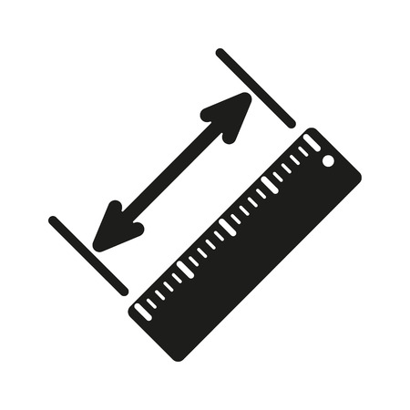 straightedge: The diagonal measurement icon. Ruler and straightedge, scale symbol. Flat Vector illustration Illustration