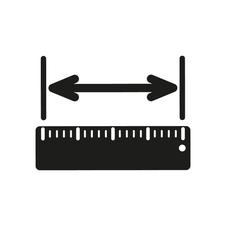 width: The width measurement icon. Ruler and straightedge, scale symbol. Flat Vector illustration