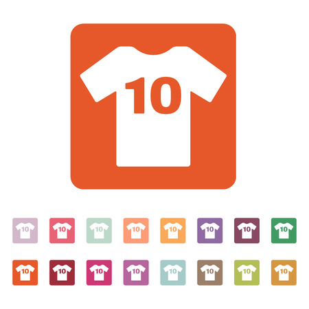 number 10: The sports t-shirt with the number 10 icon. Shirt and player symbol. Flat Vector illustration. Button Set Illustration