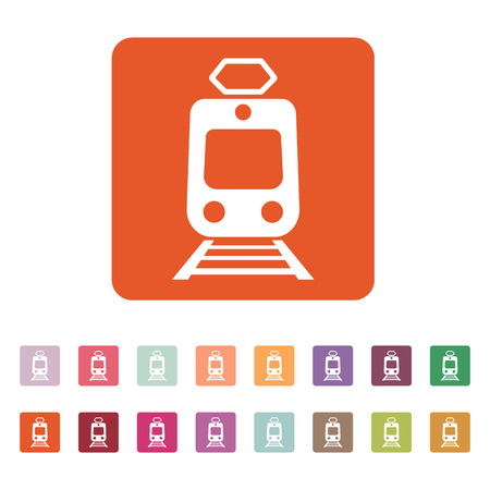 suburban street: The train icon. Metro and tram, railroad symbol. Flat Vector illustration. Button Set