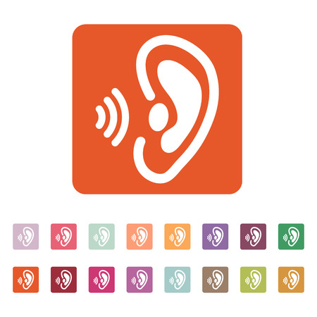 perceive: The ear icon. Sense organ and hear, understand symbol. Flat Vector illustration. Button Set