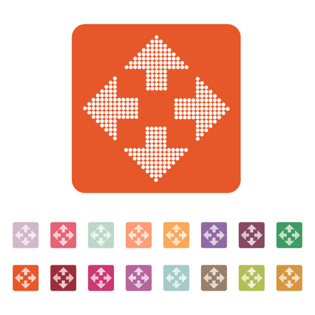 positioning: The arrow icon. Navigation and positioning, direction symbol. Flat Vector illustration. Button Set