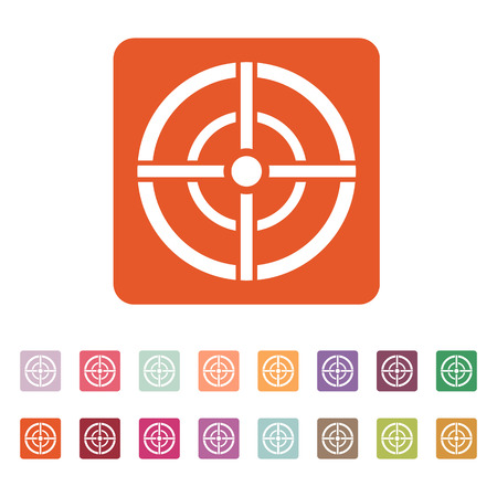 sharpshooter: The aim bag icon. Crosshair and target, sight, sniper symbol. Flat Vector illustration. Button Set Illustration