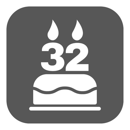 32: The birthday cake with candles in the form of number 32 icon. Birthday symbol. Flat Vector illustration. Button