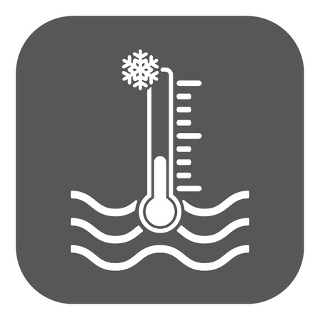 warning indicator: The cold water temperature icon. Icy liquid symbol. Flat Vector illustration. Button Illustration