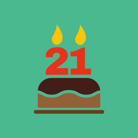 number candles: The birthday cake with candles in the form of number 21 icon. Birthday symbol.