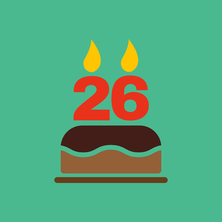 twenty six: The birthday cake with candles in the form of number 26 icon. Birthday symbol.