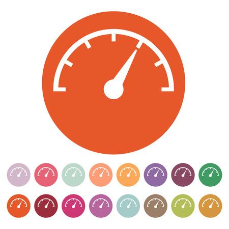 mileage: The tachometer, speedometer and indicator icon. Performance measurement symbol.  Stock Photo