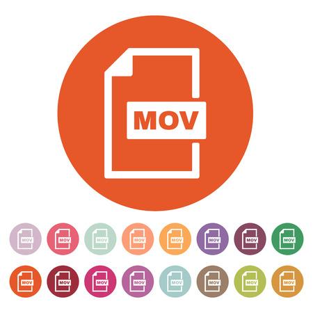 mov: The MOV icon. Video file format symbol.  Illustration