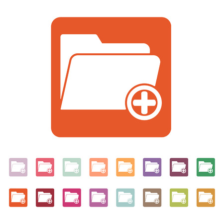 file folder: The add to folder icon. Data and directory, archive, storage symbol.