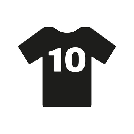 number 10: The sports t-shirt with the number 10 icon. Shirt and player symbol.