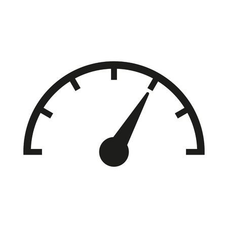 speedometer: The tachometer, speedometer and indicator icon. Performance measurement symbol.  Illustration