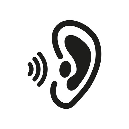 perceive: The ear icon. Sense organ and hear, understand symbol.