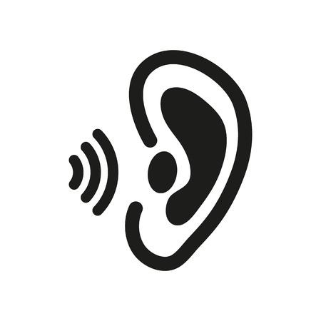 hear: The ear icon. Sense organ and hear, understand symbol.