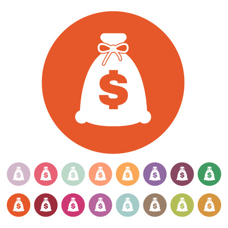 money wealth: The money bag icon. Cash and money, wealth, payment symbol.