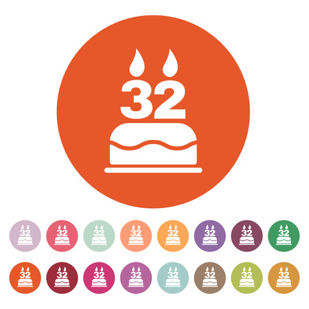32: The birthday cake with candles in the form of number 32 icon. Birthday symbol. Illustration