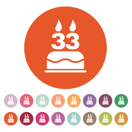 number candles: The birthday cake with candles in the form of number 33 icon. Birthday symbol.