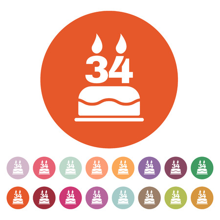 34: The birthday cake with candles in the form of number 34 icon. Birthday symbol.  Illustration