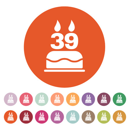 number candles: The birthday cake with candles in the form of number 39 icon. Birthday symbol.