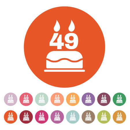 number candles: The birthday cake with candles in the form of number 49 icon. Birthday symbol.