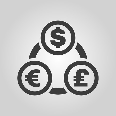 currency: The currency exchange dollar, euro, pound sterling icon. Cash and money, wealth, payment symbol.