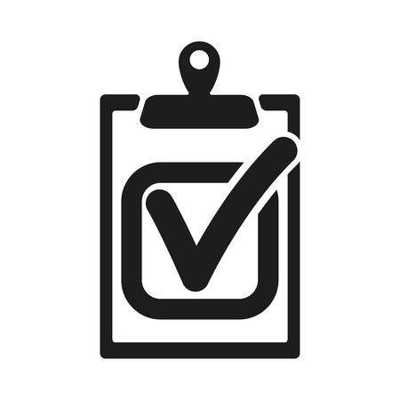 the clipboard: El icono de la lista de verificación. Portapapeles y tarea ejecutada, símbolo respuesta correcta. Ilustración vectorial Flat Vectores