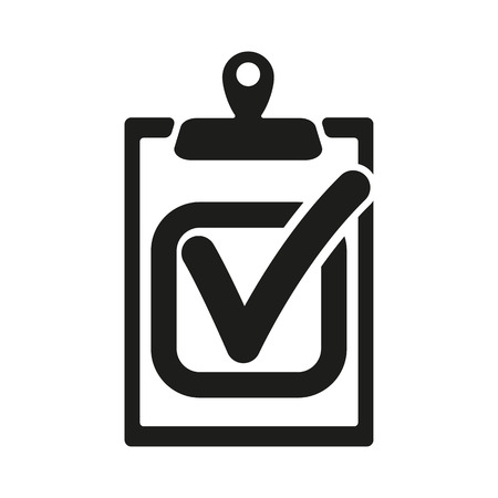 checklist: The checklist icon. Clipboard and executed task, correct answer symbol. Flat Vector illustration