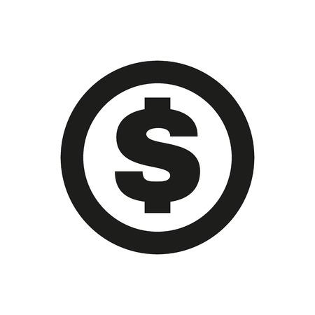 dollar: L'icona dollaro. Cassa e denaro, la ricchezza, il simbolo pagamento. Piatto vettore Vettoriali